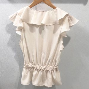 Elle Tops - Elle Ivory Ruffle Blouse with Button Loops Size S